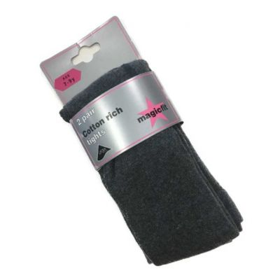 Girls Grey Magicfit Cotton Rich Tights-2 Pack