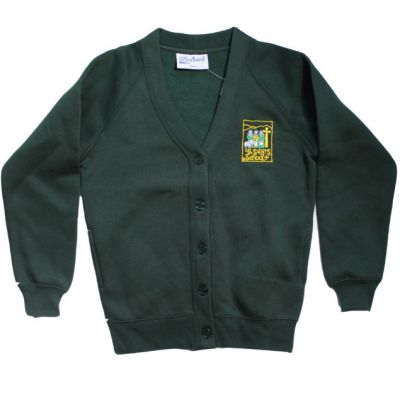 All Saint's Richmond Girls Bottle Green Cardigan w/Logo