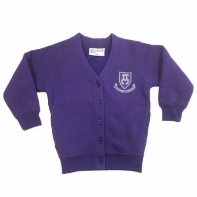 Alwoodley Girls Purple Cardigan w/Logo