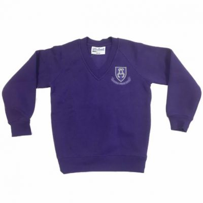 Alwoodley Purple V-Neck Sweatshirt w/Logo