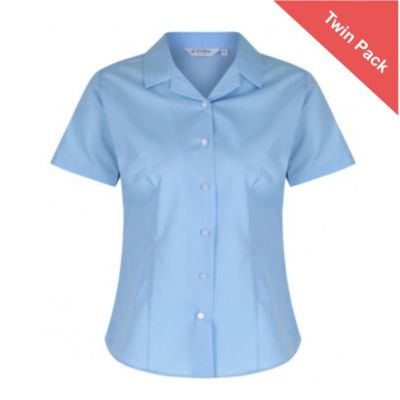 Girls Short Sleeved Rever Collar Blouse – Twin Pack – Blue