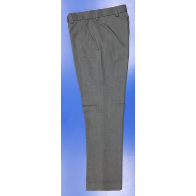 Boys Grey Senior Flat Front Trousers - Slim Fit
