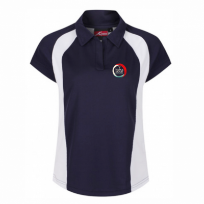 Temple Moor Nvy/Wht Akoa Girls Polo Shirt w/Logo