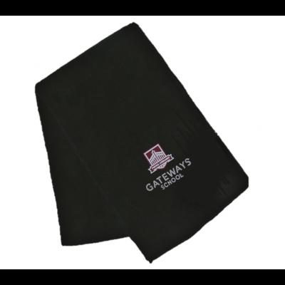 Gateways Boys Black Fleece Scarf w/Logo
