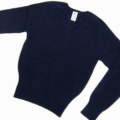 Girls Navy Cotton V-Neck Pullover