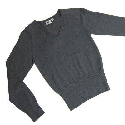 Girls Grey Cotton V-Neck Pullover