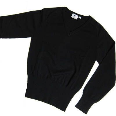 Girls Black Cotton V-Neck Pullover