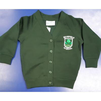 Highfield Bottle Green Cardigan w/Logo
