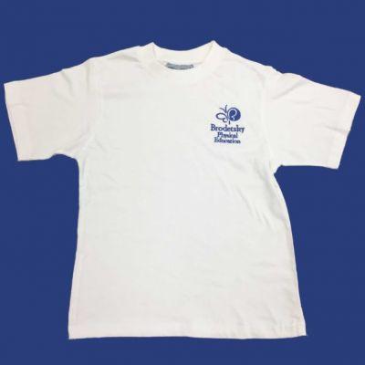 Brodetsky White P.E Tee Shirt w/Logo