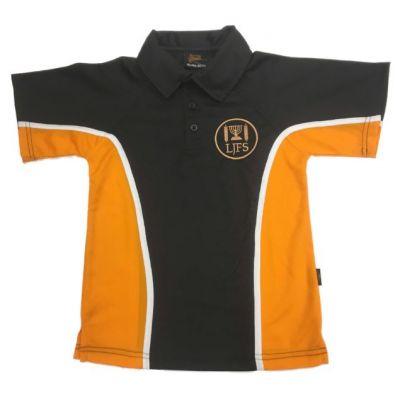 Leeds Jewish Free Blk/Amb Sports Polo Shirt w/Logo