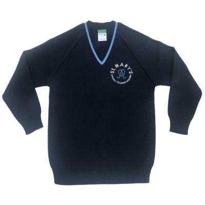 St Marys Horsforth Navy/Sky V- Neck Pullover w/Logo