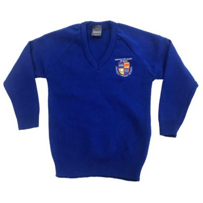 Immaculate Heart of Mary Royal Blue Knitted V-Neck Pullover