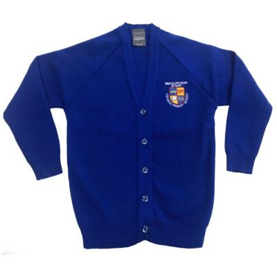 Immaculate Heart of Mary Royal Blue Knitted Cardigan w/Logo