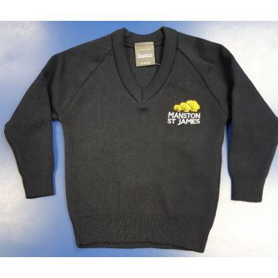 Manston St James Navy Knitted V-Neck Pullover w/Logo