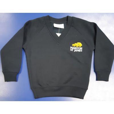 Manston St James Navy V-Neck Sweatshirt w/Logo