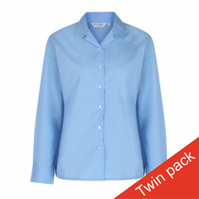 Girls Long Sleeved Rever Collar Blouse – Twin Pack – Blue