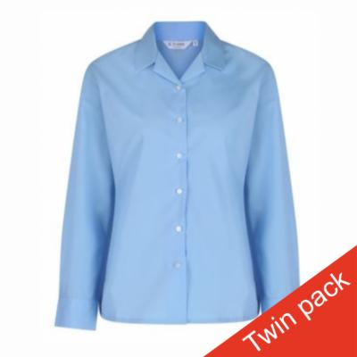 Girls Long Sleeved Rever Collar Blouse – Twin Pack – Blue