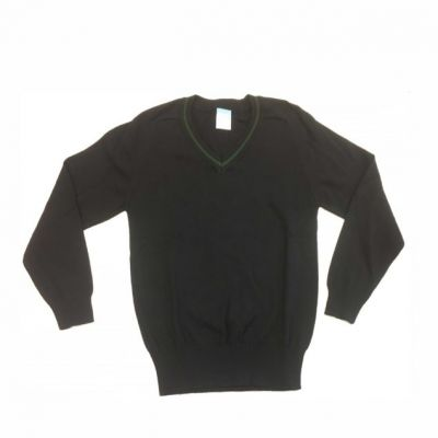 Roundhay V-Neck Pullover Black with Bottle Green Trim w/Logo