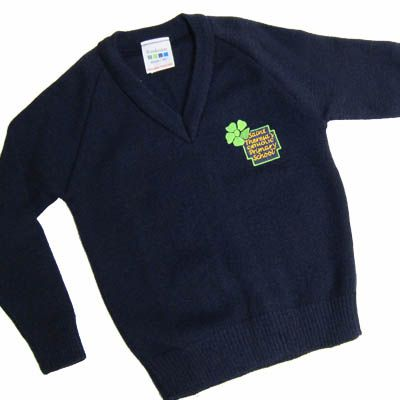 St Theresa's Navy V-Neck Knitted Pullover With Logo