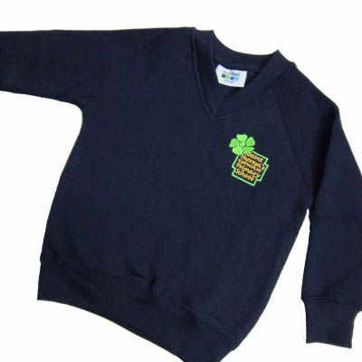 St Theresa's Navy V-Neck Sweatshirt With Logo