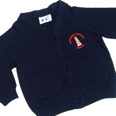 Austhorpe Girls Navy Sweat Cardigan w/Logo