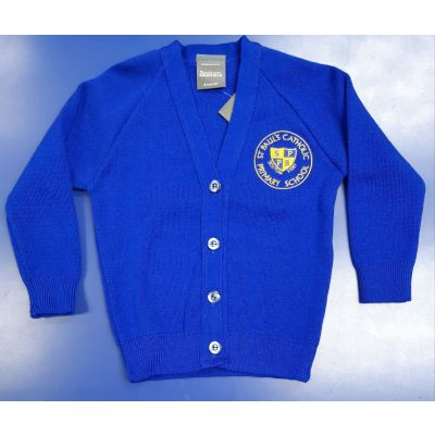 St Pauls Royal Blue Knitted Cardigan w/Logo