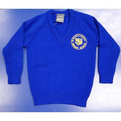 St Pauls Royal Blue Knitted V-Neck Sweatshirt w/Logo