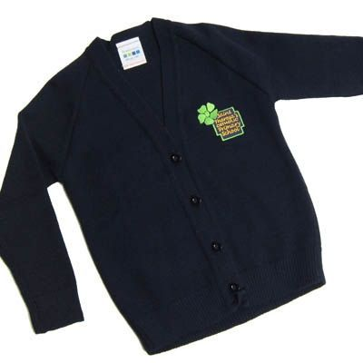 St Theresa's Girls Navy Knitted Cardigan w/Logo