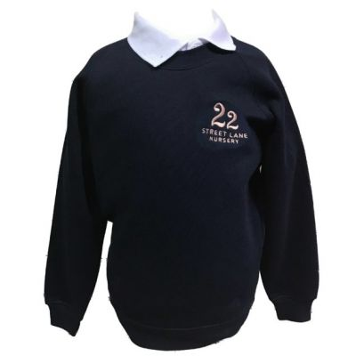 22 Street Lane Navy Crew Neck Sweatshirt w/Logo