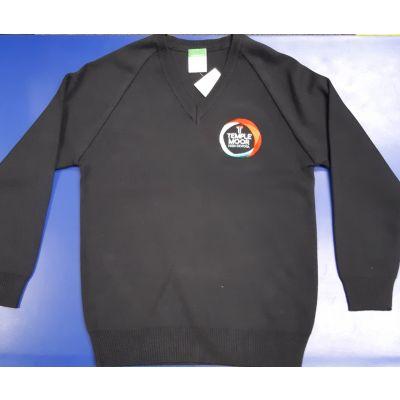 Temple Moor Unisex Navy V-Neck 50/50 Pullover w/Logo