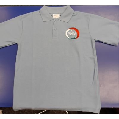 Temple Moor Unisex Sky Blue Polo Shirt w/Logo