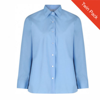 Girl Long Sleeved Blouse – Twin Pack – Blue