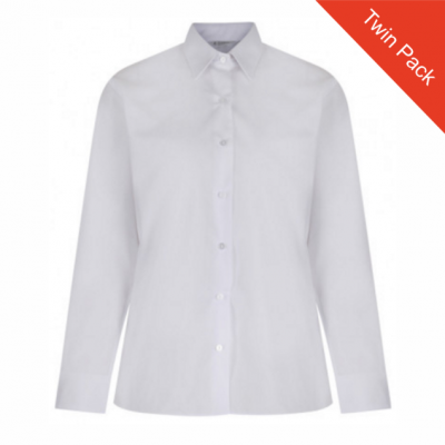 Girls Long Sleeved Blouse – Twin Pack – White