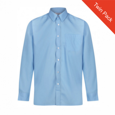 Boys Long Sleeved Shirts – Twin Pack – Blue