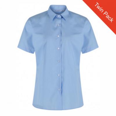 Girls Short Sleeved Blouse – Twin Pack – Blue