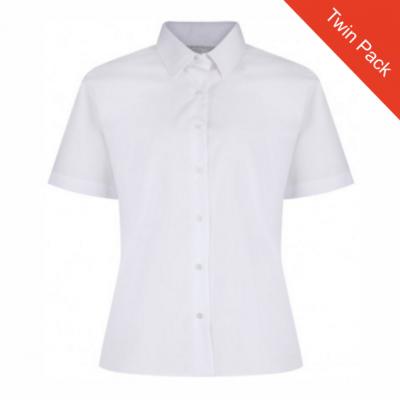 Girls Short Sleeve Blouse – Twin Pack – White